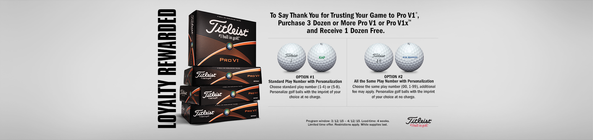 Titleist Loyalty Rewarded Promotion