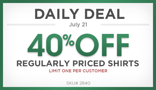40% off one regularly priced shirt