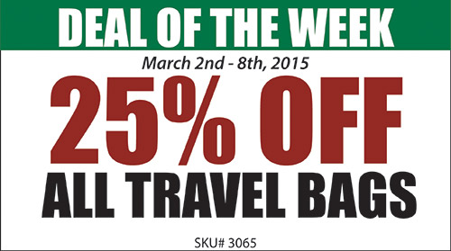 25% off all travel bags