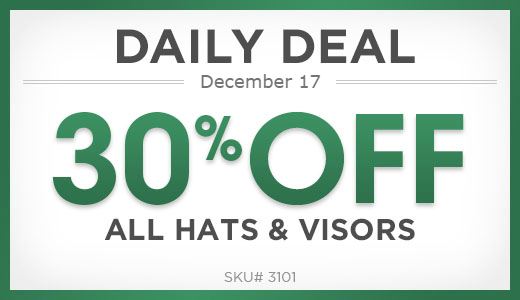 30% off hats and visors