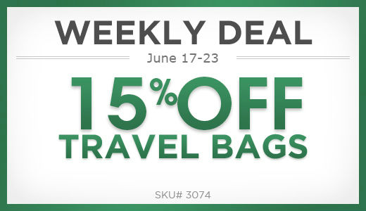 15% off travel bags