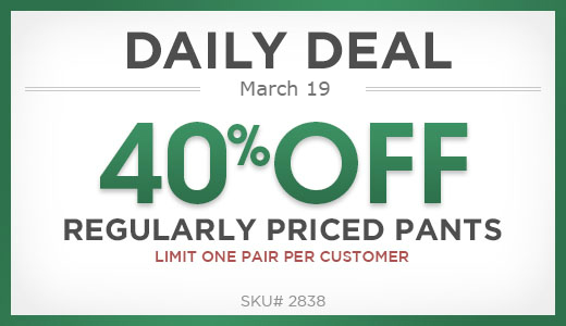 40% off one pair of regularly priced pants