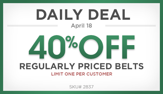 40% off regularly priced belts