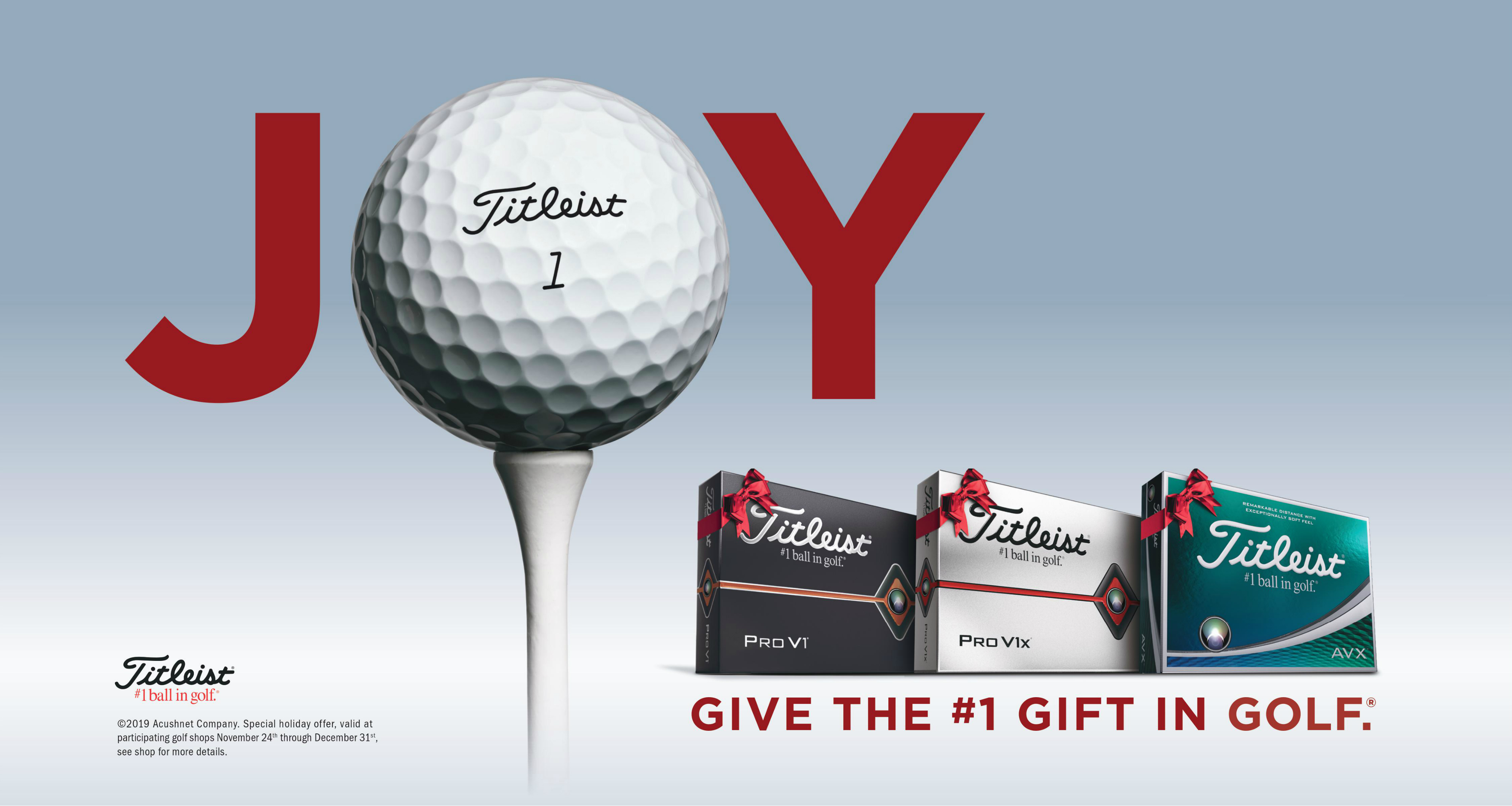 Titleist Holiday Offer - Give the number one golf ball in gift, special holiday offer valid at participating golf shops november 24th to december 31st