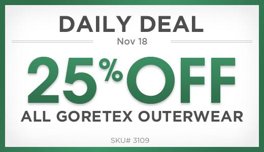25% off goretex outerwear